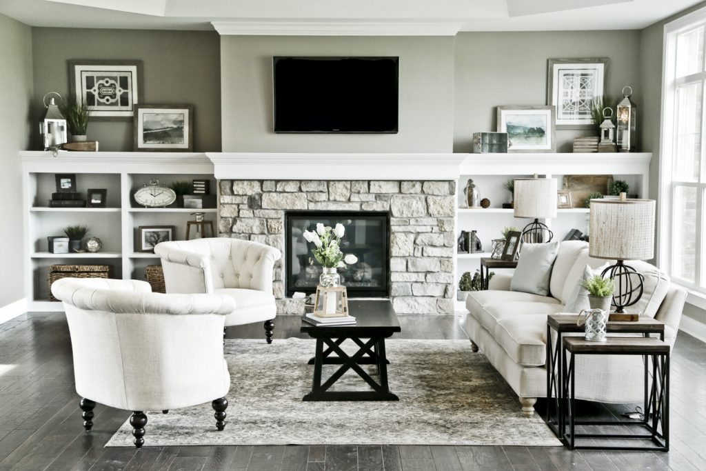 Custom Living Spaces Gallery - Room with Fireplace and TV - J&K Custom Homes