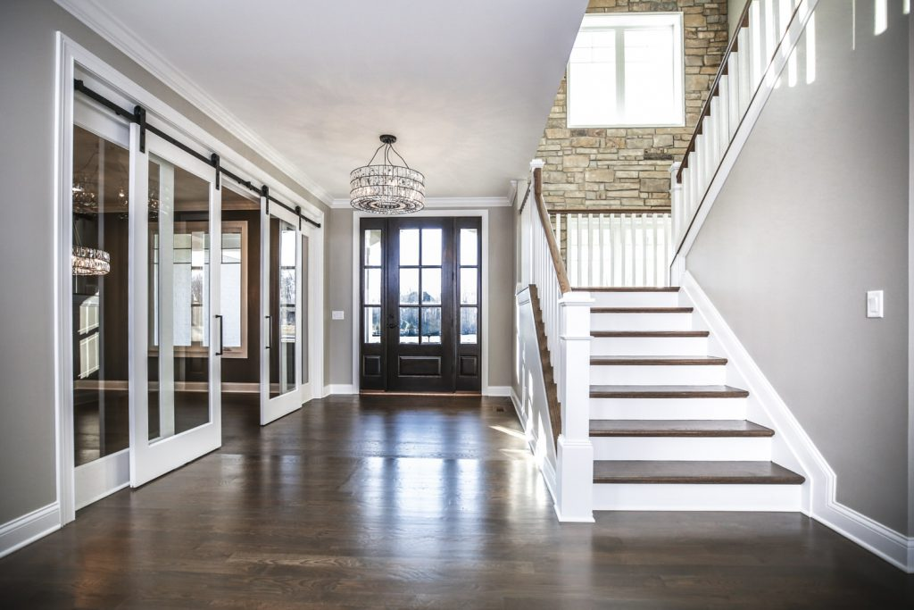 Custom Living Spaces Gallery - Crooked Tree Staircase Front View - J&K Custom Homes