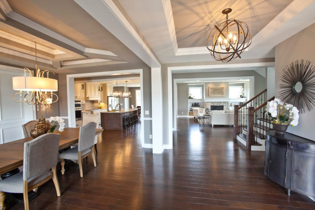 Custom Living Space Dining, Living and Kitchen View - J&K Custom Homes