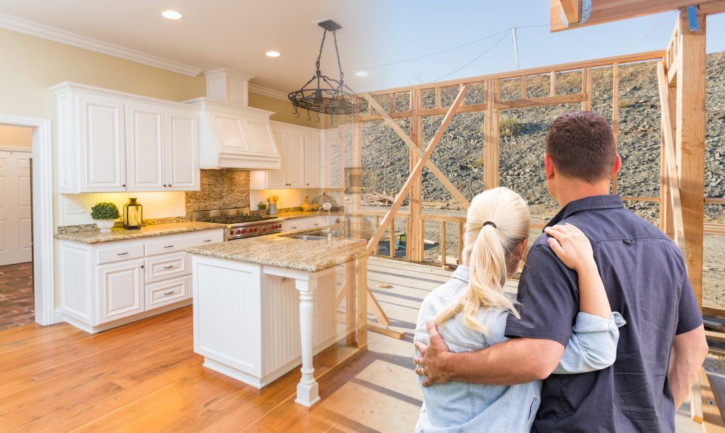 Meadowbrook Estates - Couple Facing Construction Framing Gradating To Completed Custom Kitchen - J&K Custom Homes