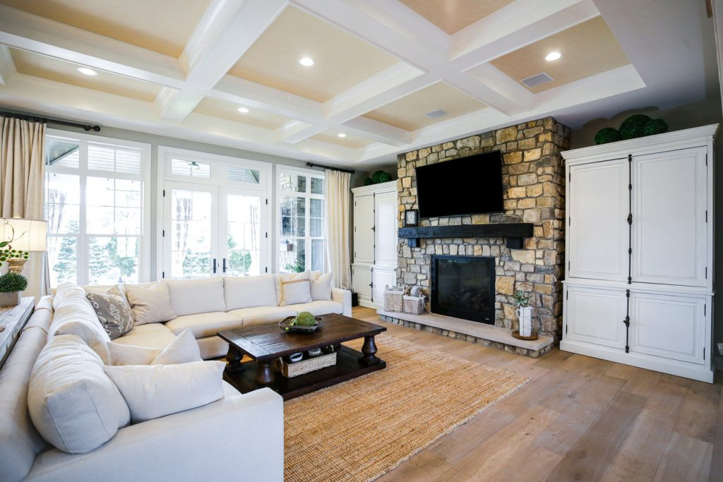 Living room view with Fireplace living space - J&K Custom Homes