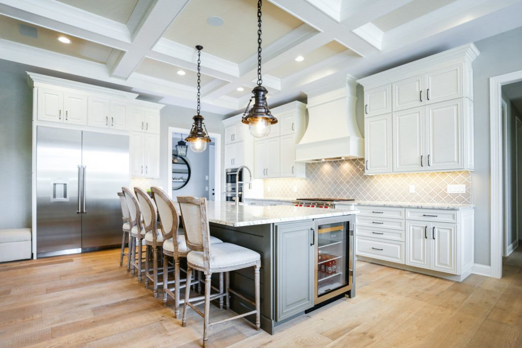 Custom Kitchen Gallery - Kitchen with Tray Ceiling View 2 - J&K Custom Homes