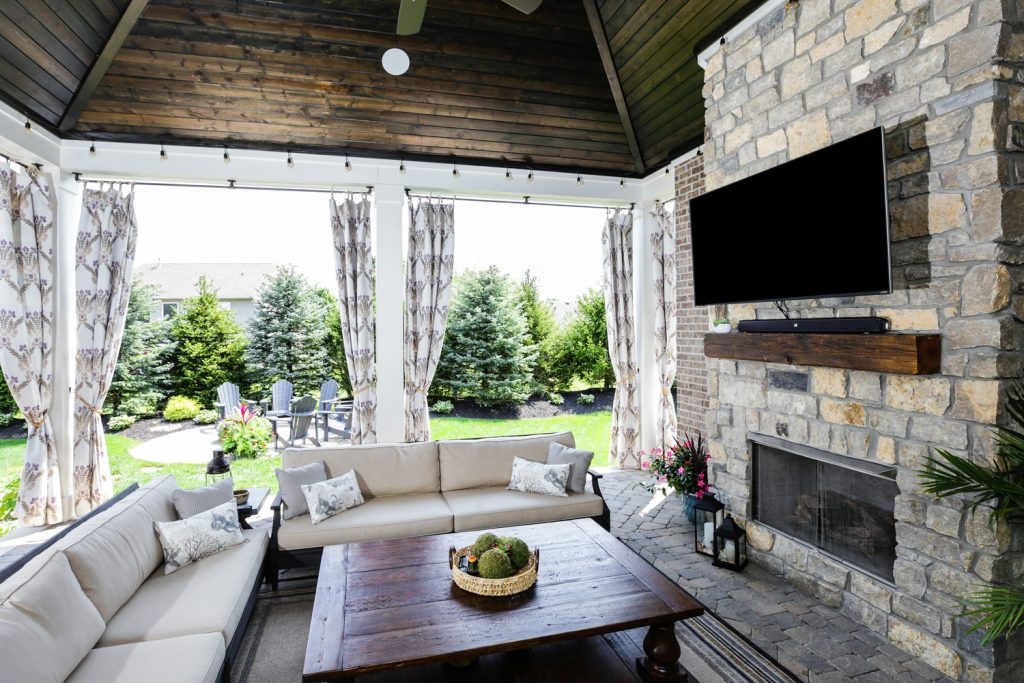 Outdoor covered patio with fireplace - J&K Custom Homes
