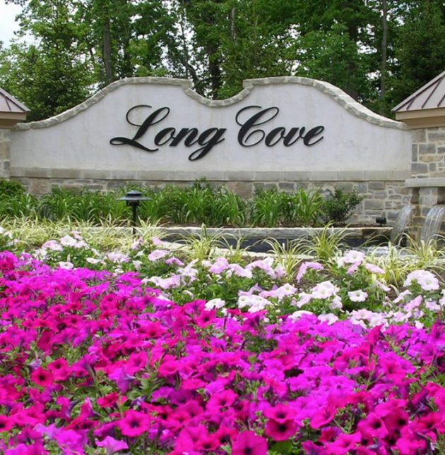 Long Cove - Sign with flowers - J&K Custom Homes